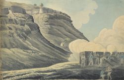 f.10   European artillery firing from the breastworks of a fort, probably during the assault of Savandrug 21 January 1792.  Indian gunner in foreground with Madras headwear.